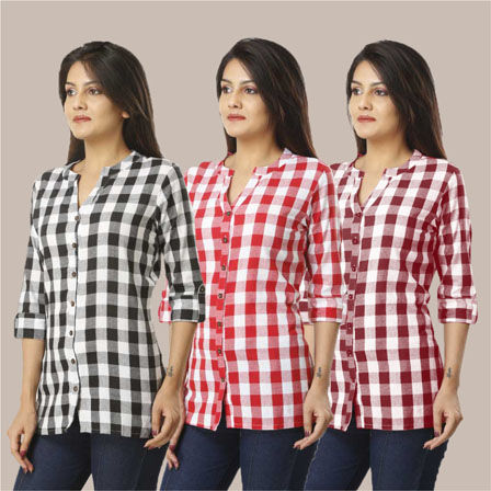 Combo of 3 Shirts-Black Pink and Magenta Pink 3/4 Sleeve Handloom Cotton-33765