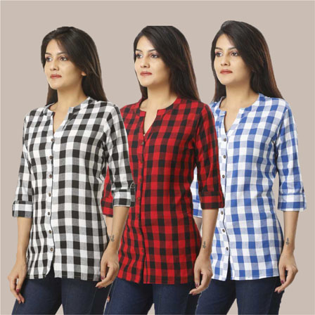Combo of 3 Shirts-Black Red and Blue 3/4 Sleeve Handloom Cotton-33763