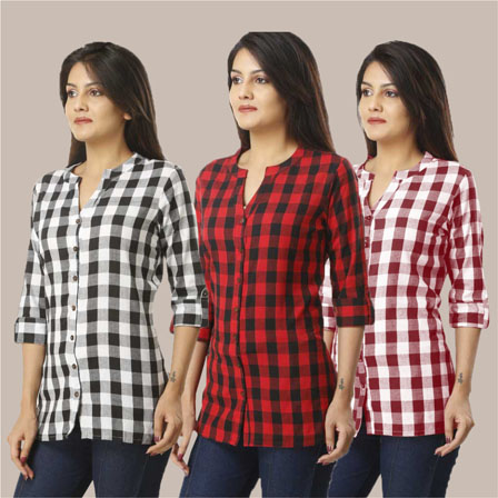 Combo of 3 Shirts-Black Red and Magenta Pink 3/4 Sleeve Handloom Cotton-33768