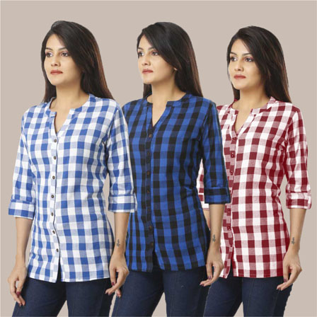 Combo of 3 Shirts-Blue Blue and Magenta Pink 3/4 Sleeve Handloom Cotton-33767