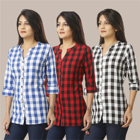 Combo of 3 Shirts-Blue Red and Black 3/4 Sleeve Handloom Cotton-33760