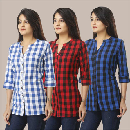 Combo of 3 Shirts-Blue Red and Blue 3/4 Sleeve Handloom Cotton-33761
