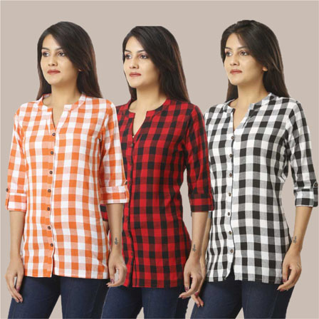 Combo of 3 Shirts-Orange Red and Black 3/4 Sleeve Handloom Cotton-33757