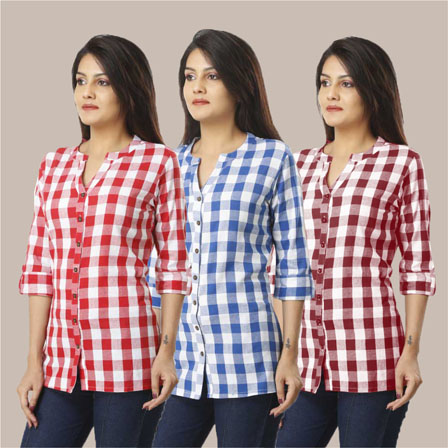 Combo of 3 Shirts-Pink Blue and Magenta Pink 3/4 Sleeve Handloom Cotton-33766