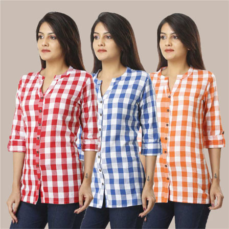 Combo of 3 Shirts-Pink Blue and Orange 3/4 Sleeve Handloom Cotton-33755