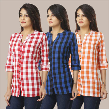 Combo of 3 Shirts-Pink Blue and Orange 3/4 Sleeve Handloom Cotton-33756