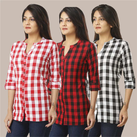 Combo of 3 Shirts-Pink Red and Black 3/4 Sleeve Handloom Cotton-33759