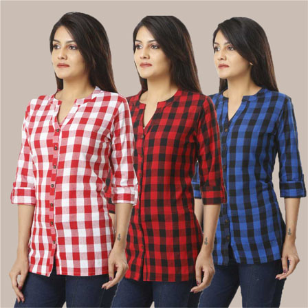 Combo of 3 Shirts-Pink Red and Blue 3/4 Sleeve Handloom Cotton-33762