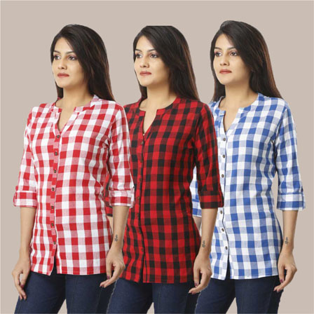Combo of 3 Shirts-Pink Red and Sky Blue 3/4 Sleeve Handloom Cotton-33764