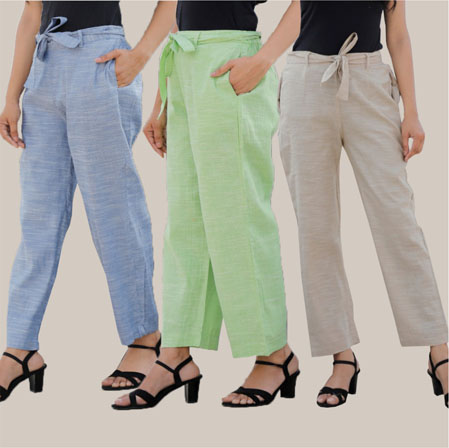 Combo of 3 Cotton Linen Handloom Pant with Belt Blue Green and White-34952