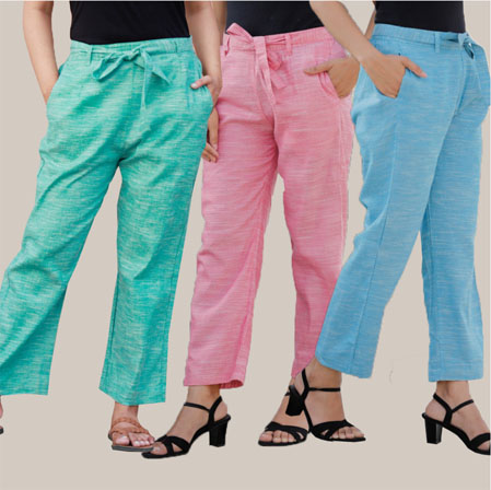 Combo of 3 Cotton Linen Handloom Pant with Belt Cyan Pink and Sky Blue-34943