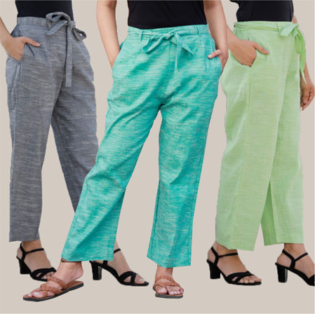 Combo of 3 Cotton Linen Handloom Pant with Belt Gray Cyan and Green-34951