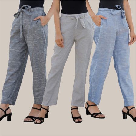 Combo of 3 Cotton Linen Handloom Pant with Belt Gray Light Gray and Blue-34957