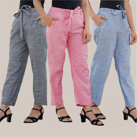 Combo of 3 Cotton Linen Handloom Pant with Belt Gray Pink and Blue-34961