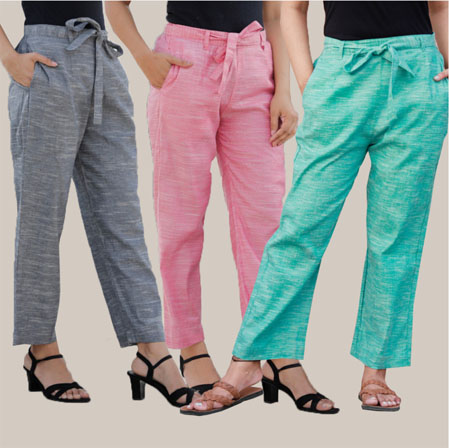 Combo of 3 Cotton Linen Handloom Pant with Belt Gray Pink and Cyan-34945