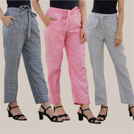 Combo of 3 Cotton Linen Handloom Pant with Belt Gray Pink and Light Gray-34948