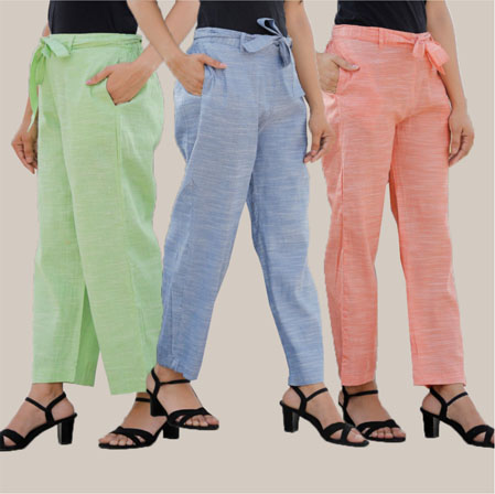 Combo of 3 Cotton Linen Handloom Pant with Belt Green Blue and Peach-34954