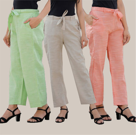 Combo of 3 Cotton Linen Handloom Pant with Belt Green White and Peach-34950