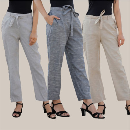 Combo of 3 Cotton Linen Handloom Pant with Belt Light Gray Gray and White-34960