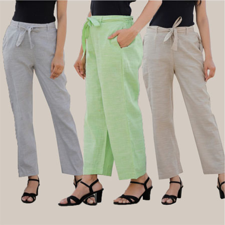 Combo of 3 Cotton Linen Handloom Pant with Belt Light Gray Green and White-34949