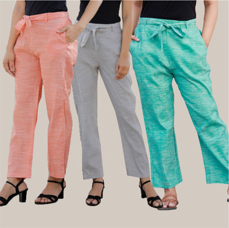 Combo of 3 Cotton Linen Handloom Pant with Belt Peach Light Gray and Cyan-34962