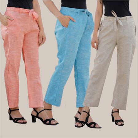 Combo of 3 Cotton Linen Handloom Pant with Belt Peach Sky Blue and White-34956