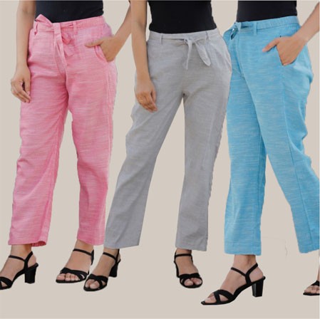 Combo of 3 Cotton Linen Handloom Pant with Belt Pink Light Gray and Sky Blue-34958