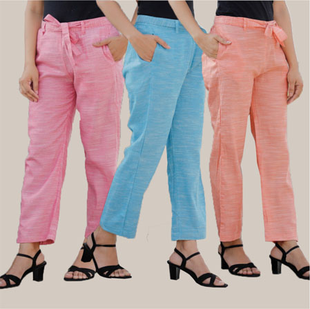 Combo of 3 Cotton Linen Handloom Pant with Belt Pink Sky Blue and Peach-34953