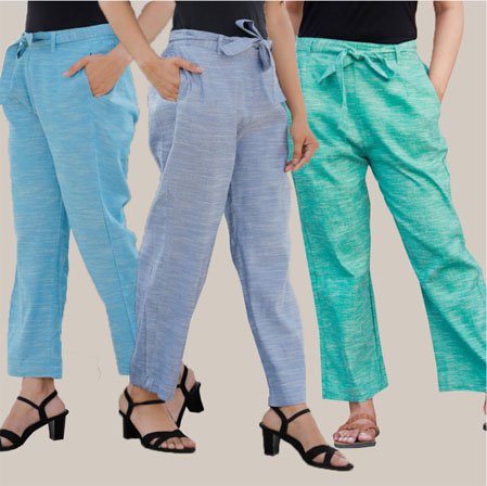 Combo of 3 Cotton Linen Handloom Pant with Belt Sky Blue Blue and Cyan-34947