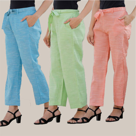Combo of 3 Cotton Linen Handloom Pant with Belt Sky Blue Green and Peach-34944