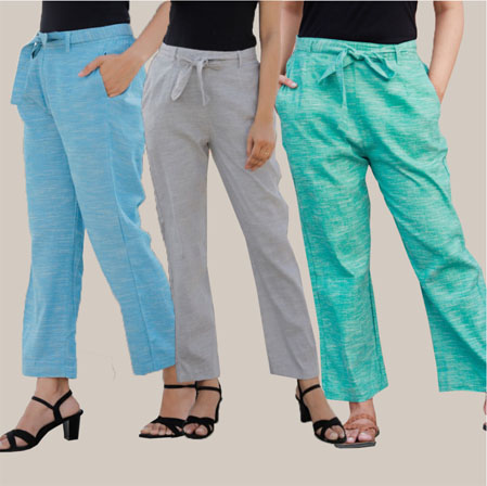 Combo of 3 Cotton Linen Handloom Pant with Belt Sky Blue Light Gray and Cyan-34959