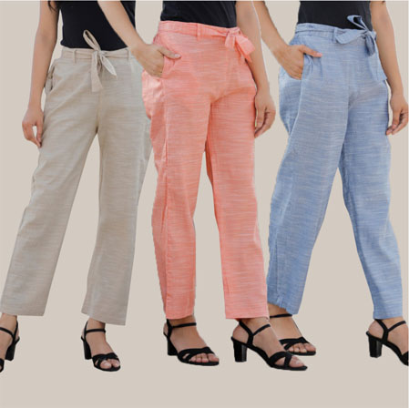 Combo of 3 Cotton Linen Handloom Pant with Belt White Peach and Blue-34946