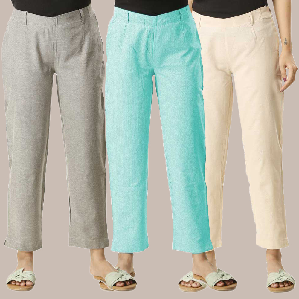 Combo of 3 Cotton Samray Ankle length Pant Gray Cyan and Beige-35023