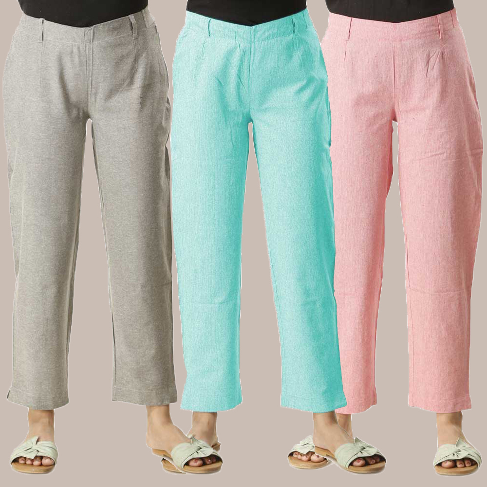 Combo of 3 Cotton Samray Ankle length Pant Gray Cyan and Pink-35024