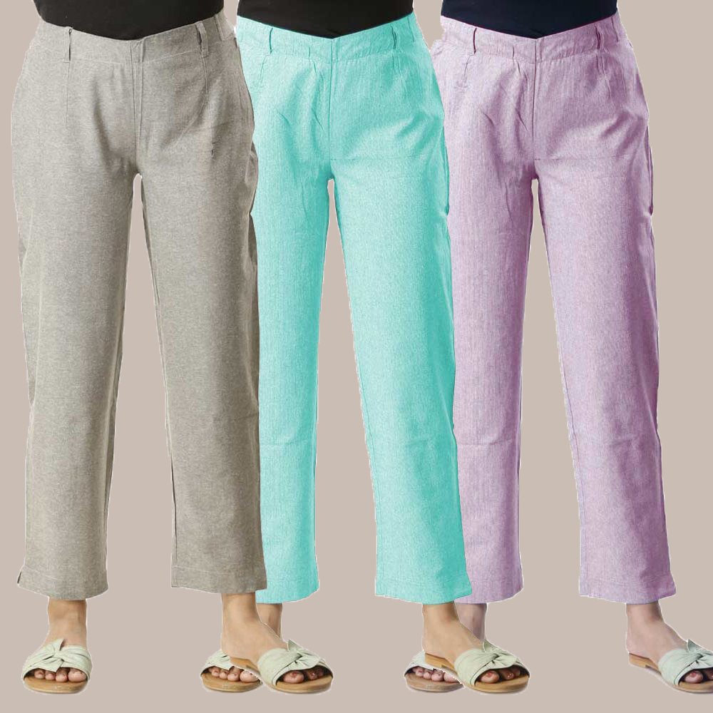 Combo of 3 Cotton Samray Ankle length Pant Gray Cyan and Purple-35025