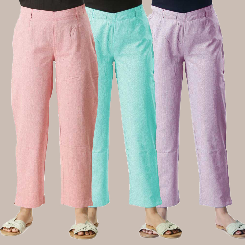 Combo of 3 Cotton Samray Ankle length Pant Pink Cyan and Purple-35026