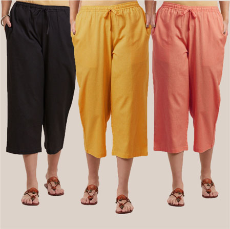 Combo of 3 Rayon Culottes Black Peach and Yellow-35756