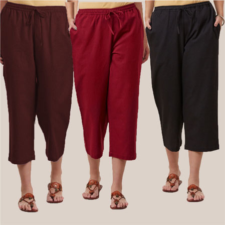 Combo of 3 Rayon Culottes Black Wine and Brown-35742