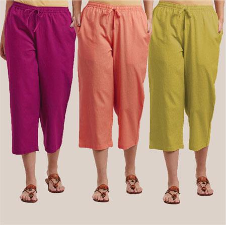 Combo of 3 Rayon Culottes Magenta Pink Peach and Mehndi Green-35856