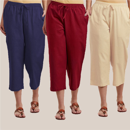 Combo of 3 Rayon Culottes Navy Blue Wine and Cream-35803