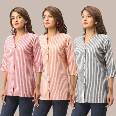 Combo of 3 Shirts-Peach Pink and Gray Stripe 3/4 Sleeve Handloom Cotton-33752