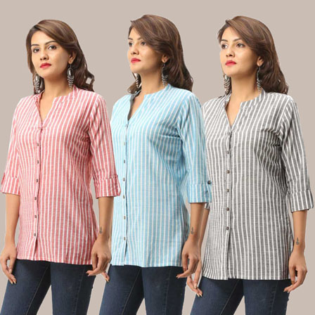 Combo of 3 Shirts-Pink Cyan and Gray Stripe 3/4 Sleeve Handloom Cotton-33751