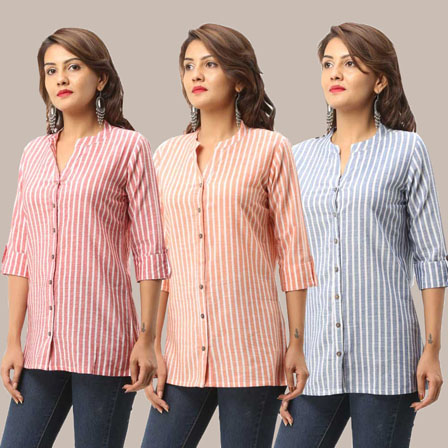 Combo of 3 Shirts-Pink Peach and Blue Stripe 3/4 Sleeve Handloom Cotton-33751