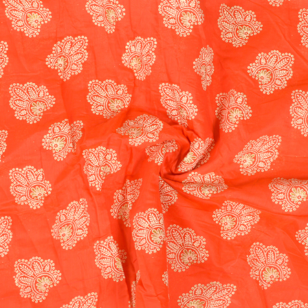 Coral Pink-Cream and Silver Floral Design Chanderi Silk Fabric-9025