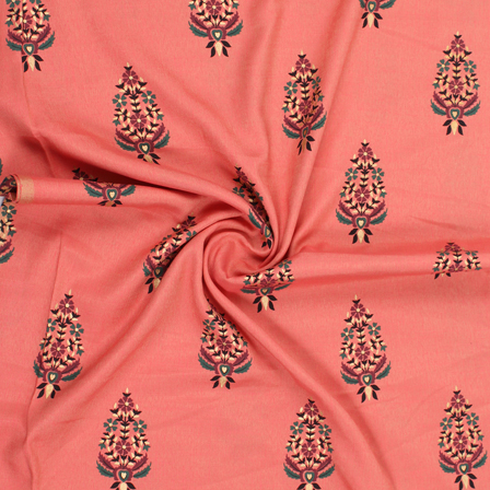 Coral Pink-Golden and Green Floral Jam Cotton Silk Fabric-75166