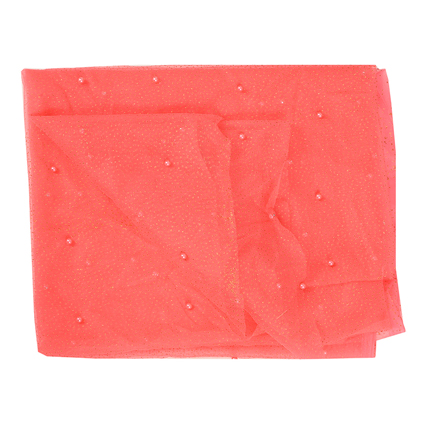 Coral Pink Pearl Design Embroidery Net Fabric-60210
