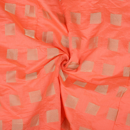 Coral Pink and Golden Silk Chanderi Fabric-9027