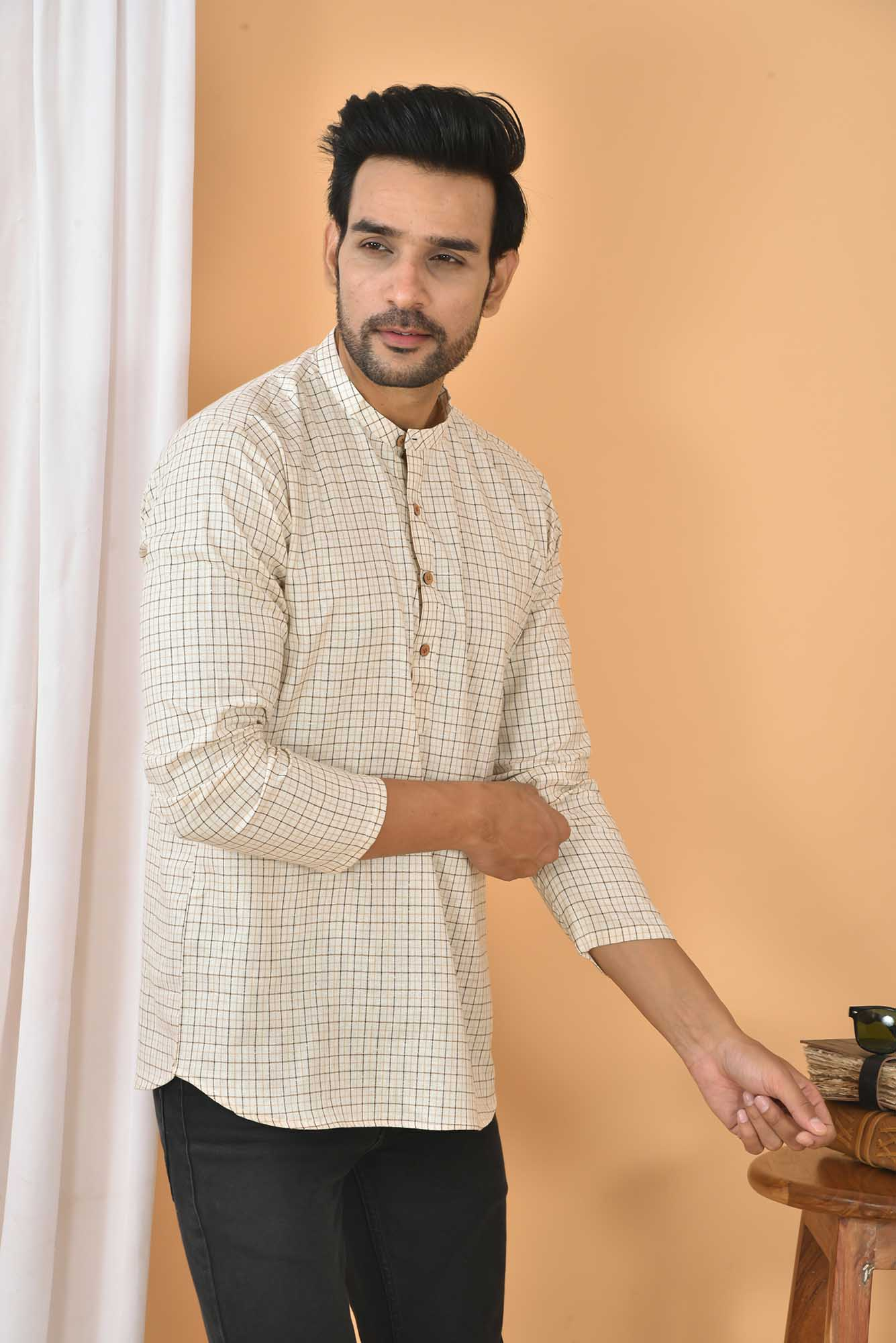 Cotton Handloom Checks Short Kurta Cream and Black-36834