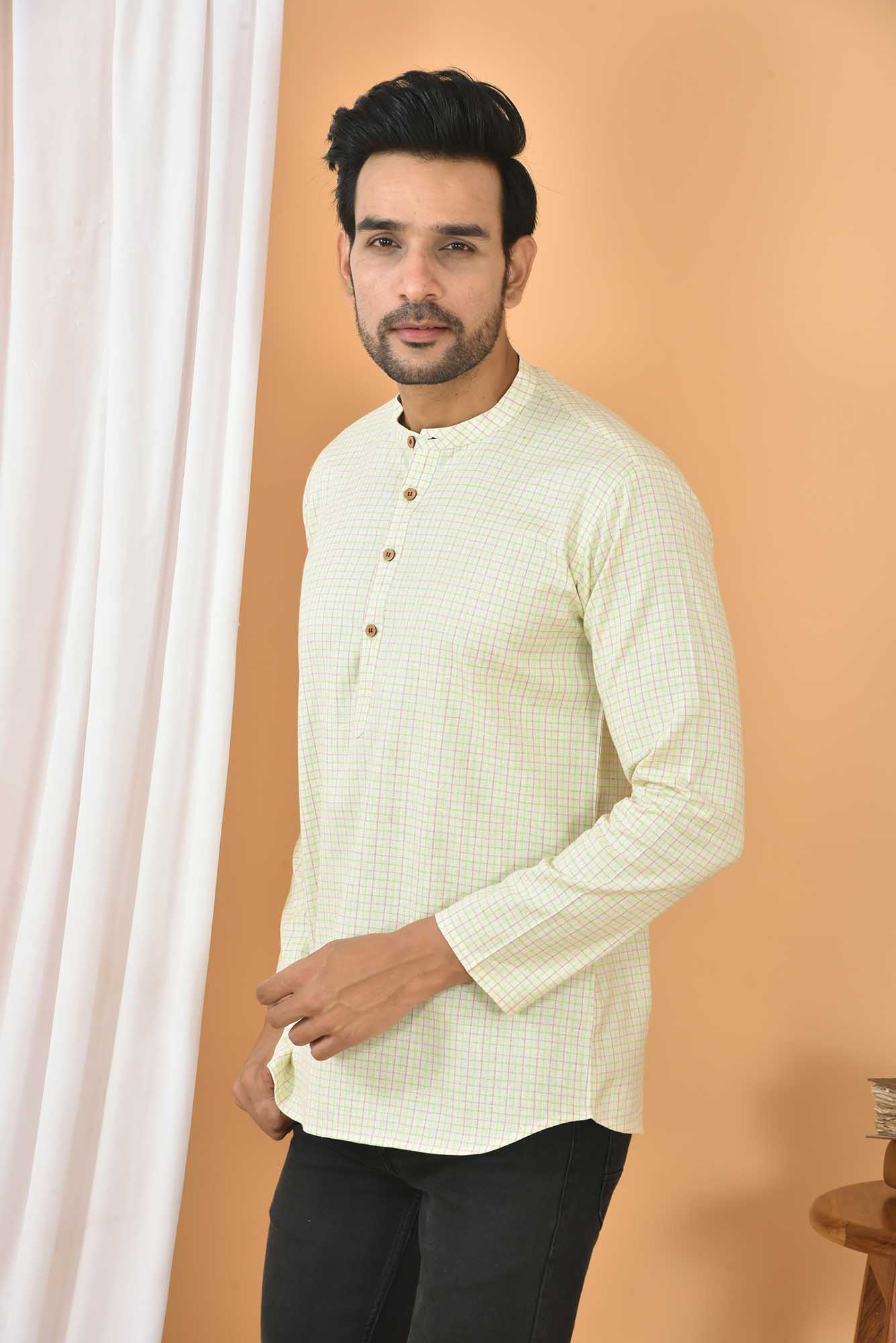 Cotton Handloom Checks Short Kurta Cream and Green-36828