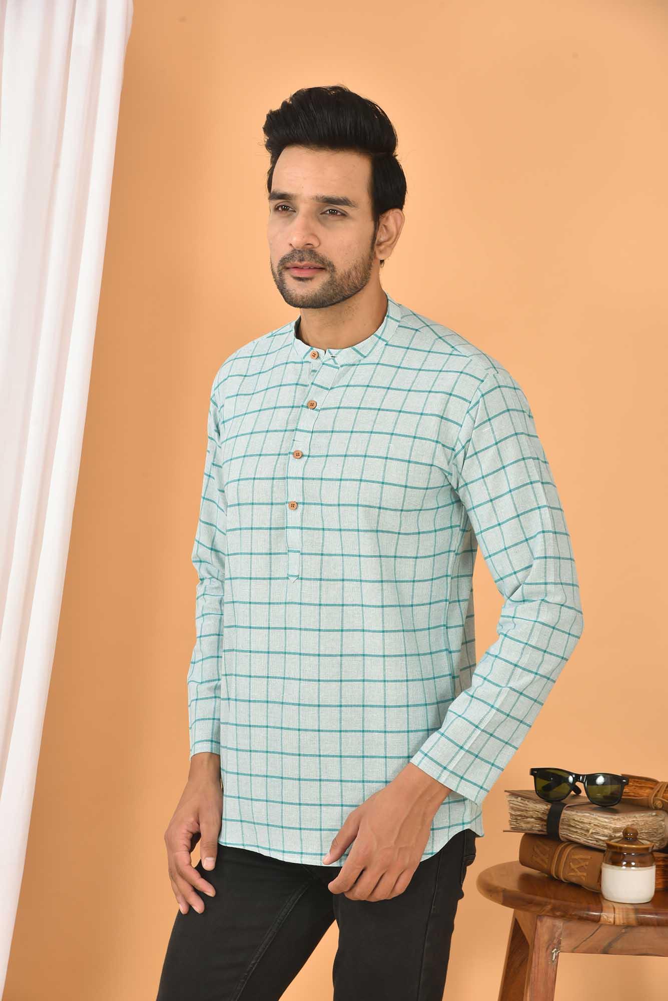 Cotton Handloom Checks Short Kurta Cyan and Blue-36824